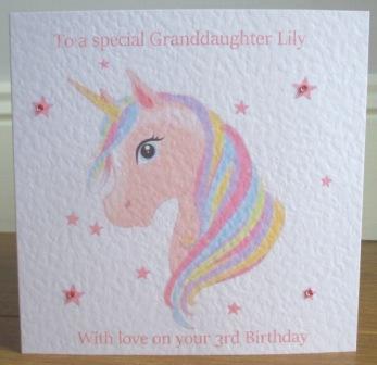 Home Birthdays Children Rainbow Unicorn Personalised Birthday Card