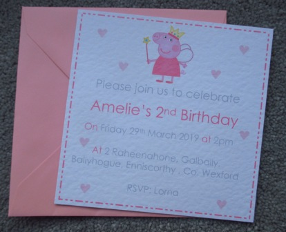 10 X Peppa Pig Birthday Party Invitations 5x5